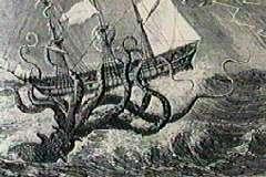 An Octopus Like Kraken Attacks A Sailing Ship
