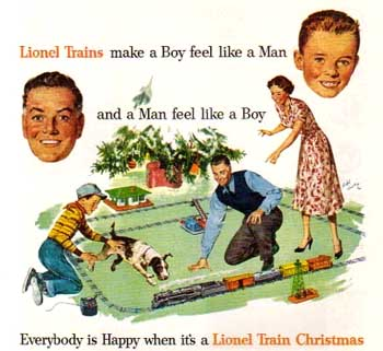 an ad campaign from the 1950s connecting christmas to lionel trains courtsey of lionel llc